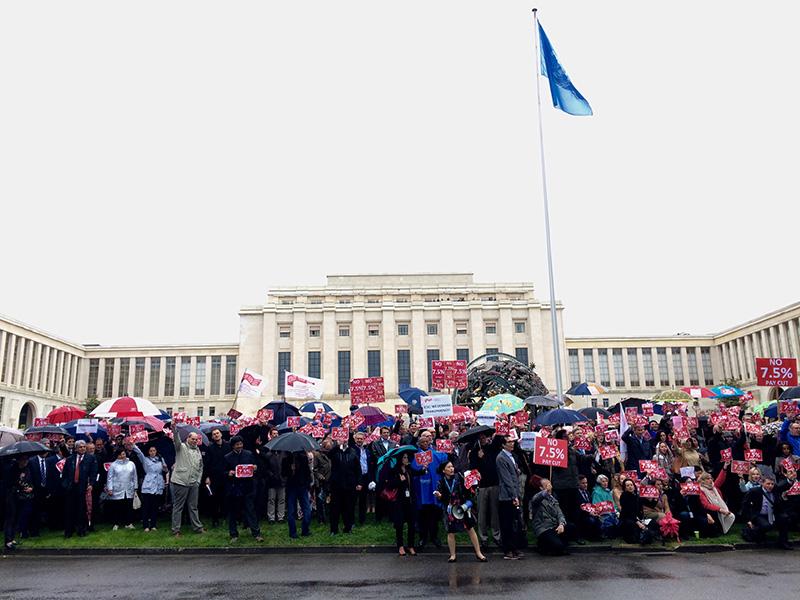 UN demo against 7.5% pay cut