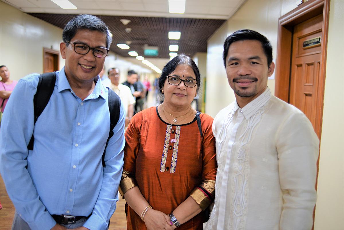 Lakshmi Vaidhiyanathan, Ian Mariano and Manny Pacquiao