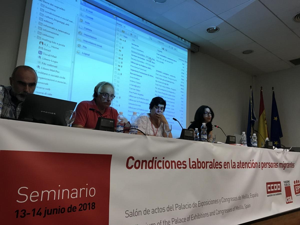 Los Secretarios Generales de CC.OO. y FP-CGIL cierran el taller de dos días con un fuerte llamado para que el movimiento sindical trabaje junto con movimientos políticos progresistas para luchar contra la propagación preocupante de las fuerzas xenófobas, fascistas y populistas que crecen en Europa.