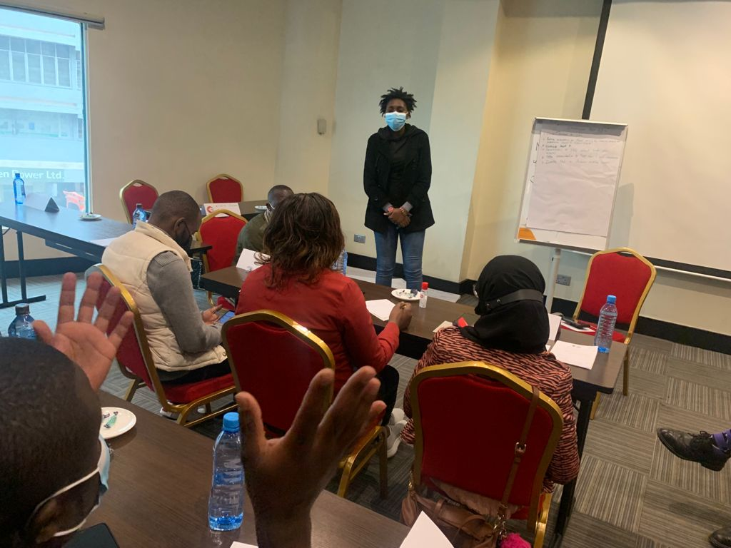 Group leader during young workers union training in Nairobi, Kenya, 12 August 2021
