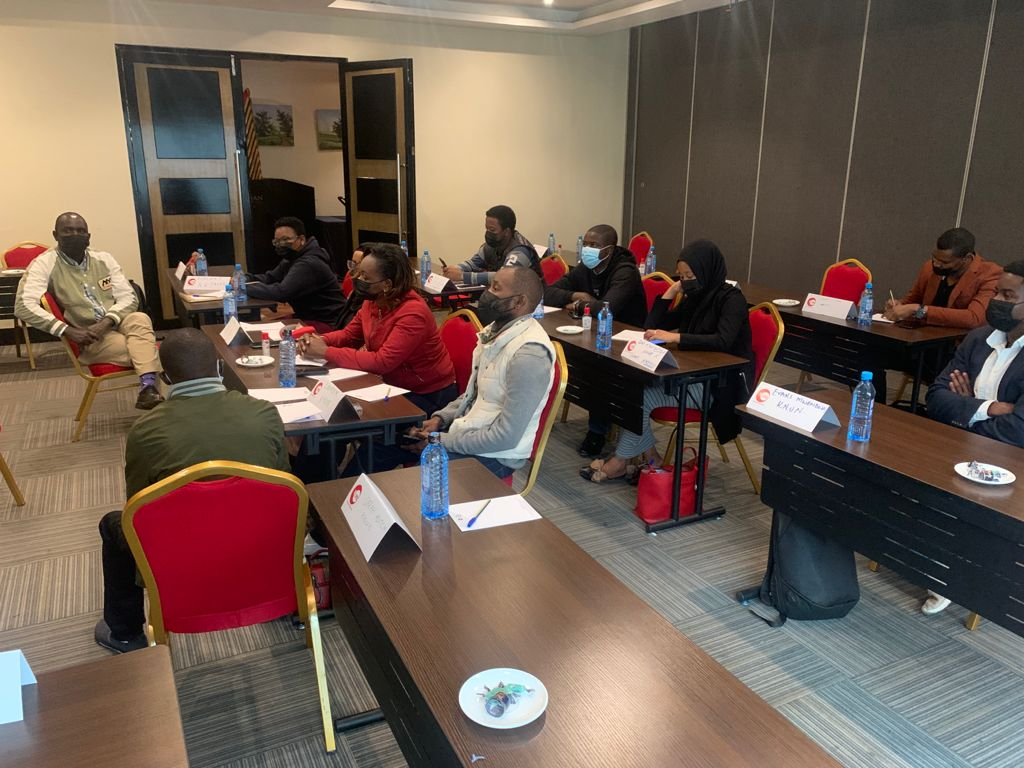 Group discussion at the young workers union training in Nairobi, Kenya on 12 August 2021